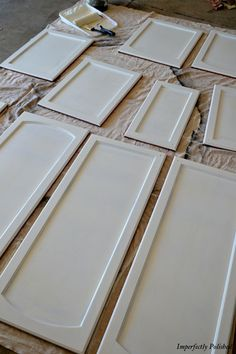 easy steps to painting kitchen cabinets. My hubby did this for me in me dark wood kitchen, and it is now a lovely pale yellow and bluebell colour.