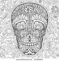 Human Skull Made Of Flowers Vector Illustration Coloring Pages To PrintColoring