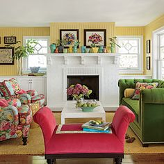 The Living Room - Colorful Lake Michigan Cottage - Coastal Living Mobile