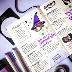 Witchy vibes  •••••••••••••••••• stationery #grid #photography #aesthetic #bujo #bujoph #bulletjournal #journal #journaling #calligraphy #calligraphyPH #handwriting #muji #flatlay #illustration #drawing #studyblr #study #studygram #pastel #soft #purple #leuchtturm1917 #october #spooky #spoopy #witch #magic