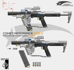 Comet Aerospace pushes the boundary of EVA rated infantry weapon to new heights by unveiling the all-new Extravehicular Combat System. Comet Aerospace ECS-C Sci Fi Weapons, Weapon Concept Art, Weapons Guns, Fantasy Weapons, Arsenal, Anti Materiel Rifle, Science Fiction, Vector Technology, Future Weapons