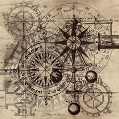 Autowheel IIi Art Print by James Christopher Hill Steampunk Print featuring the painting Autowheel IIi by James Christopher Hill Vintage Maps, Antique Maps, Vintage Scrapbook, Vintage Ephemera, Steampunk Kunst, Steampunk Drawing, Vintage Wallpaper, Etiquette Vintage, Old Maps