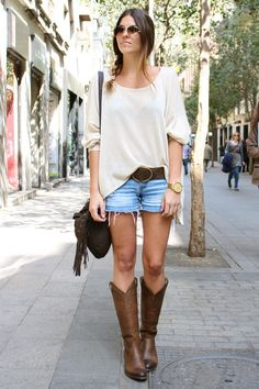 Outfit idea - Some boots and short shorts. Looks classy.