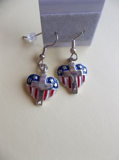 Patriotic Red White and Blue Hearts with Cross by ShadowoftheCross