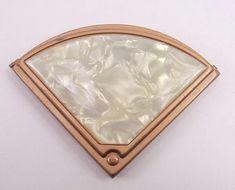 Compact Mirror Fan Shaped Vintage