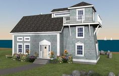 From our Lighthouse Series, an 1800 sq.ft. timberframe house or cottage with a tower. Choose to have the living room or the kitchen in the tower section.