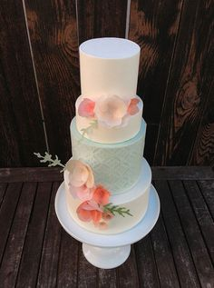 Tiered Wedding Cake with Rice Paper Flowers