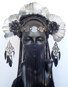MADE TO ORDER Silver & Black Fungus Headdress by MissGDesignsShop,