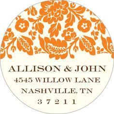 Vintage Orange Floral Round Address Labels