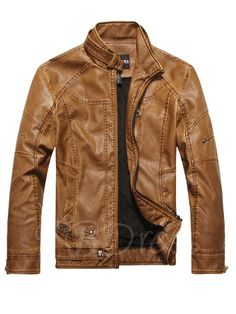 TBDress -  TBDress Stand Collar Zipper Vintage Worn Warm Slim Mens Motor  Jacket - 2dfdd8be3d14