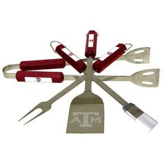 Tailgating never looked so good! This stainless steel BBQ set is a perfect way of showing your team pride on Game Day. Each utensil is printed with your favorite College team's artwork. The set includes tongs, brush, fork and a laser etched spatula.