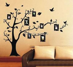 Family Tree Wall decal - Photo Frame Tree Wall Decal Art Wall Sitckers Removable Vinyl Decal Living Room Art Home Decor on Etsy, $10.98
