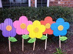 Spring Flowers Yard Art Yard Decoration by WildeWoodTreasures, $65.00