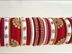 My over all silk thread bridal bangles set collection part Silk Thread Earrings Designs, Silk Thread Bangles Design, Silk Bangles, Bridal Bangles, Thread Jewellery, Bridal Jewelry Sets, Indian Jewelry Sets, Hand Jewelry, Jewelry Art
