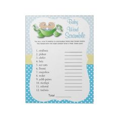 Twin Baby Boy Shower - Two Peas In A Pod Word Game Notepad - baby shower ideas party babies newborn gifts