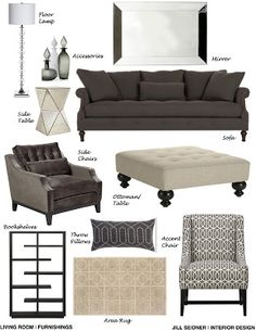 Scarsdale, NY Online Design Project Living Room Furnishings Concept Board I like the bold chair Grey Family Rooms, Living Room Grey, Living Room Decor, Small Room Design, Family Room Design, Interior Exterior, Home Interior, Interior Ideas, Interior Design Help