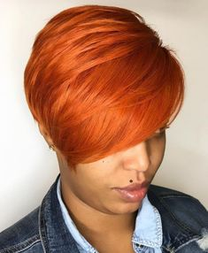 60 Great Short Hairstyles for Black Women Bright Orange Red Pixie Short Sassy Hair, Short Hair Cuts, Short Hair Styles, Natural Hair Styles, Pixie Rot, Pixie Hair, Black Women Short Hairstyles, Hair Affair, Stylish Hair