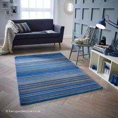 NEW: Carter Blue Rug, a hand-woven wool rug with a striped design in various shades of blue, beige & brown (100% wool, 3 sizes) http://www.therugswarehouse.co.uk/modern-rugs3/carter-rugs/carter-blue-rug.html