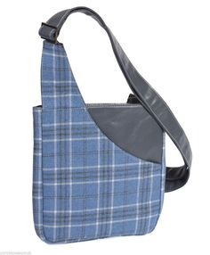 Braemar range across body messenger style shoulder bag in a blue and white tweed plaid fabric with grey faux leather trim excellent quality fabric