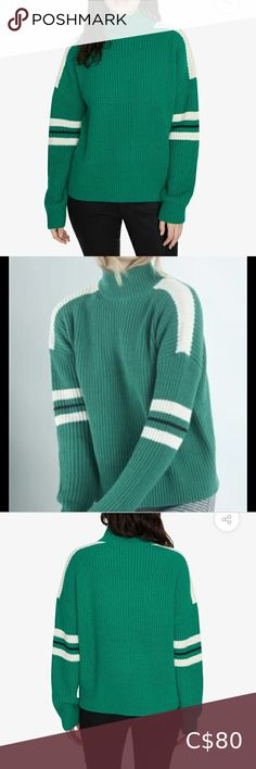 NWT Anthropologie Sanctuary Speedway Sweater Mockneck Dropped shoulders Long sleeves Pullover style Acrylic Colour: Emerald/Moonstone/Black Front Length: 22 inches Back Length: 22 inches Sleeve Length: 31 inches Brand sold at Anthropologie, Revolve Anthropologie Sweaters Cowl & Turtlenecks Ribbed Turtleneck, Mohair Sweater, Pullover Sweaters, Pegged Jeans, Button Fly Jeans, Half Zip Pullover, Turtlenecks, Cowl, Emerald