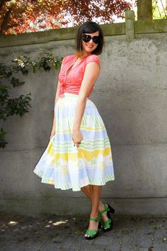Yellow Skirt, Coral Top, Green Shoes