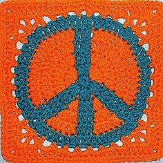 1st peace sign I pinned for my Afghan Squares board. Pattern is to the left .