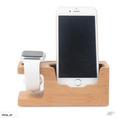 Bamboo Universal Desk Stand Charging Station Holder For Cellphone iWatch | Trade Me