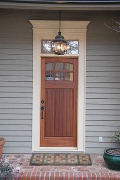 Craftsman Door With S Simple Pediment And Transom Window