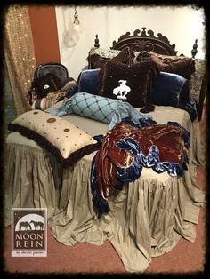 shabby chic cowgirl, chocolate velvet and khaki cotton, western lifestyle bedding, boho feel www.christisinteriors.com