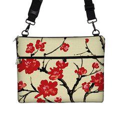 Messenger sac bandoulière sac Macbook Pro 13 13 pouces ordinateur portable sac Floral Laptop Case femme / Air / cerise longue sangle rétine blossom MTO rouge