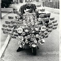 1960s Mod and his scooter in London, England,