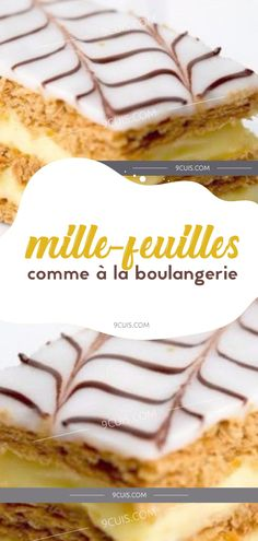 MILLE-­FEUILLES COMME À LA BOULANGERIE Bon Dessert, Specialty Cakes, Biscuits, Deserts, Food And Drink, Sweets, Cookies, Comme, Ethnic Recipes