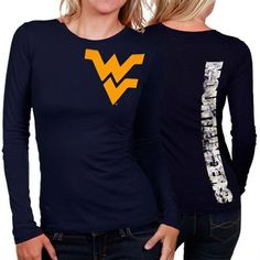 My U West Virginia Mountaineers Ladies Afterthought Long Sleeve T-Shirt - Navy Blue