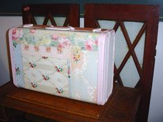 Vintage Suitcase Painted Covered in Vintage Wallpaper Relined Ralph Lauren Roses Fabric Simply Cottage Chic Original I have a love hate