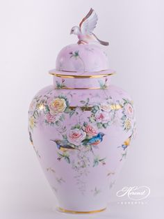 Vase Embossed with Roses – Special - Herend Porcelain 6559-0-91 SP912 - Limited To: 50 pieces