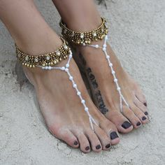 Antique gold anklets and barefoot sandals with gorgeous crystal beads. Sold as pair! Style: Tallow B1436 on Etsy, $57.78