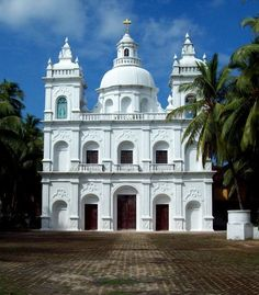 """evysinspirations: """"(via St. Alex Church, Calangute, a photo from Goa, West India Architecture, Amazing Architecture, Oh The Places You'll Go, Cool Places To Visit, Cathedral Church, Urban Sketching, Place Of Worship, Mosques, Cathedrals"""
