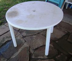 Refinish An Old Plastic Outdoor Table With Any Surface Metalic Spray Paint For A