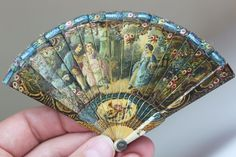 "Antique Miniature Fan 4.5""x2.6"" for French Fashion / Victorian Doll Authentic! Rare! via eBay SOLD 5/10/15 BIN $265.00"
