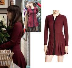Fifty Shades Darker: Ana's burgundy/maroon shirt dress with black trim #fsd #fiftyshadesdarker #50shades
