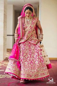 Bride With Pink Bridal Lehenga : Spotted Online Designer Bridal Lehenga, Pink Bridal Lehenga, Wedding Lehnga, Wedding Attire, Wedding Bride, Bengali Wedding, Bridal Hijab, India Wedding, Pink Lehenga