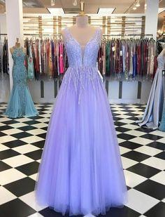 Elegant v neck tulle beaded long prom dresses formal dress UH414