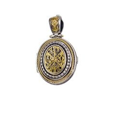 Locket Pendant in Gold and Sterling Silver Silver Lockets, Byzantine, Pocket Watch, 18k Gold, Gems, Pendants, Sterling Silver, Handmade, Accessories