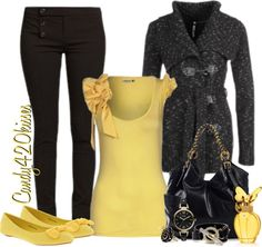 """""""black and yellow"""" by candy420kisses ❤ liked on Polyvore"""