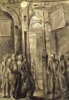 Strokey's Bar on the Bowery, 1946, Reginald Marsh. American Social Realist Painter (1898 - 1954)