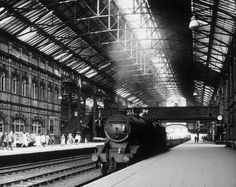 A steam engine beneath the cavernous Victoria Station roof Nottingham Station, Old Train Station, Train Stations, Diesel, Electric, Steam Railway, British Rail, South Yorkshire, Barnsley