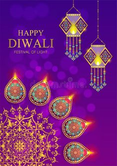 Happy Diwali festival card. With gold diya patterned and crystals on paper color , #Sponsored, #card, #gold, #festival, #Happy, #Diwali #ad