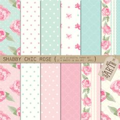 Digital Paper Pack - Shabby Chic Rose (Card Making, Scrapbooking)