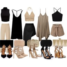 Girl Group- Black & Tan by dceee on Polyvore featuring Wet Seal, RVCA, Forever New, Miss Selfridge, Opening Ceremony, Delpozo, Aquazzura, Boohoo, Gucci and KOTUR