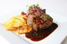 House-smoked Grilled Filet Mignon Au Gratin potatoes with Beecher's ...